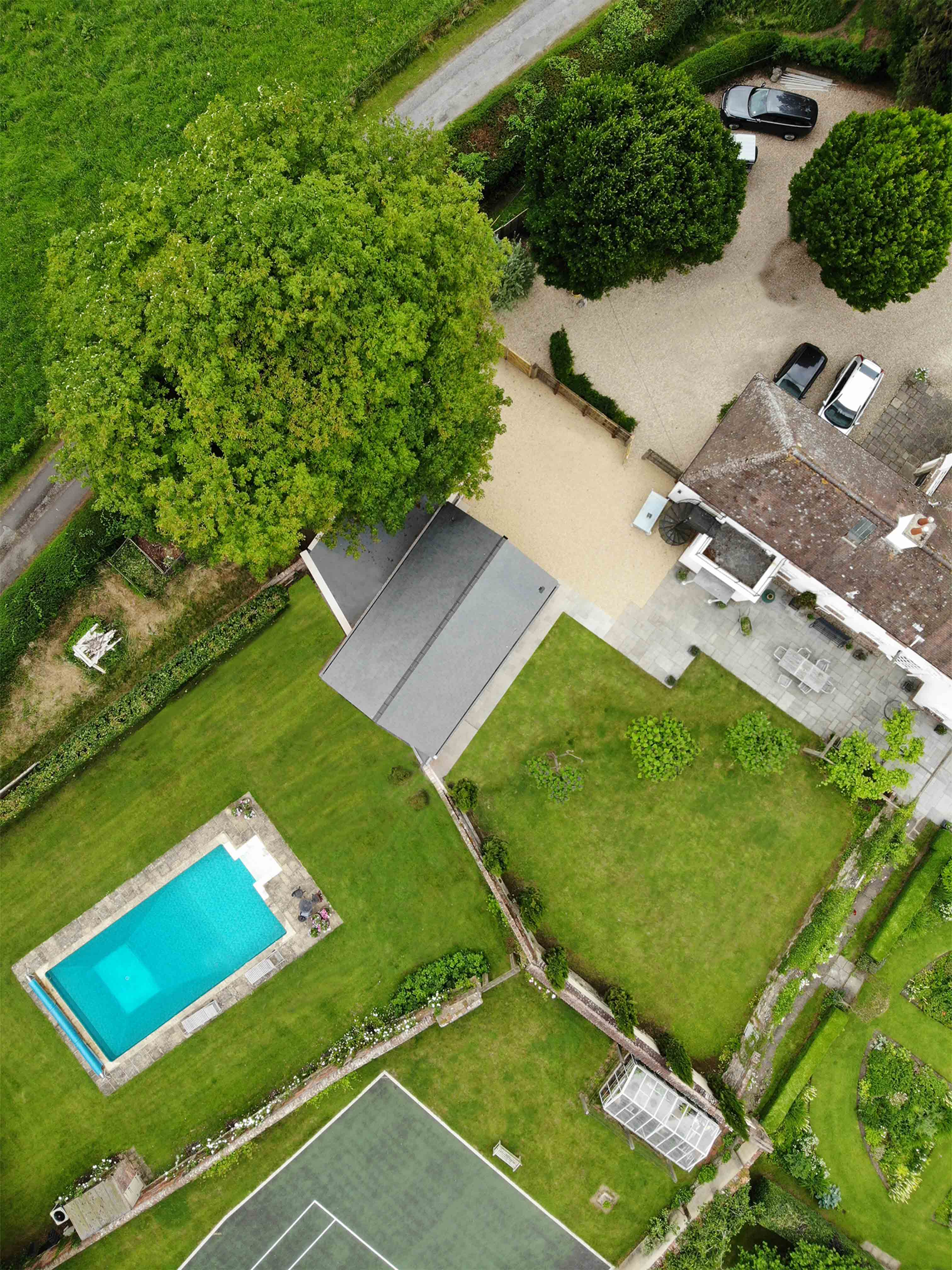 Aerial view of shillingstone Pool House