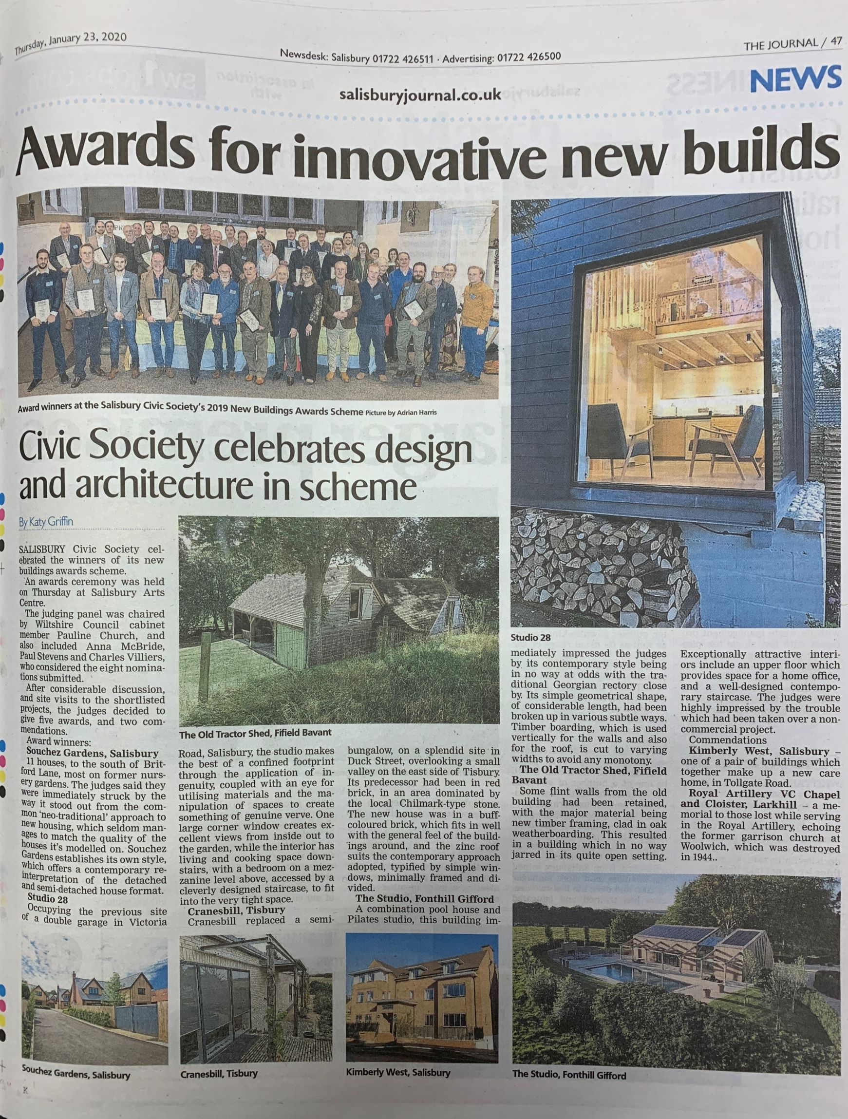 The Studio features in a Salisbury Journal article about the Salisbury Civic Society Awards